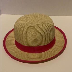 Pink & tan paper straw sun hat w/ pink ribbon band